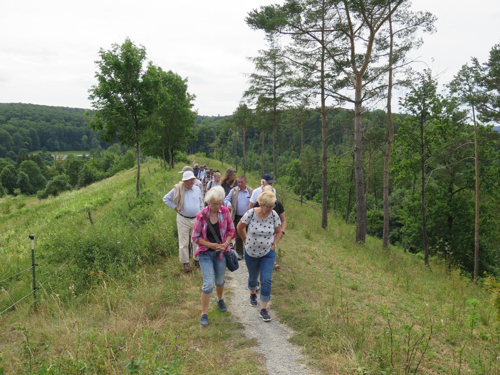 Die Exkursionsgruppe auf dem Schmetterlingspfad